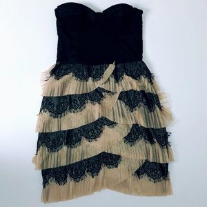 H&M Black & Creme Corset Top Lace Mini Dress